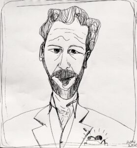 Sketch of Louis Klein, with heart in his breast pocket